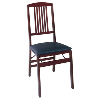 Cosco Bridgeport Collection Wood Folding Chair with Vinyl Seat and Mission Style Back - Set of 2 - Dark Mahogany COS-14270DMB