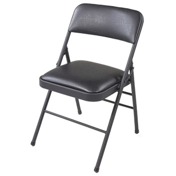 Cosco Vinyl Folding Chair w/Padded Seat and Back - Set of 4 - Black Color COS-14883005X