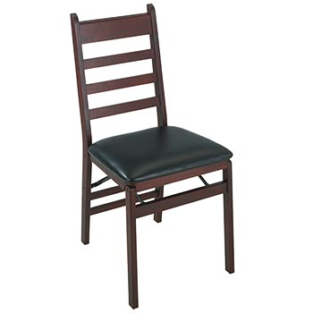 Cosco Woodcrest Wood Folding Chair w/Vinyl Seat - Dark Mahogany/Black COS-37273DMB2