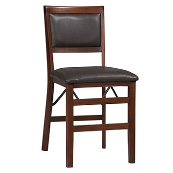 Linon Triena Padded Back Folding Chair - Set of 2 - Espresso Finish LIN-01823ESP-02-AS-U