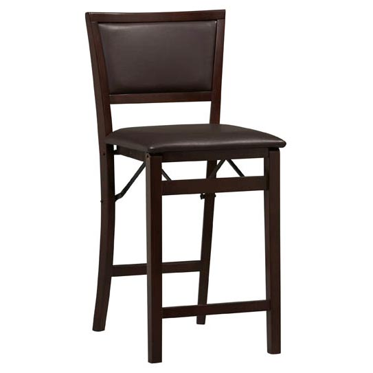 Wondrous Linon Triena 24 Padded Back Wood Folding Counter Stool Squirreltailoven Fun Painted Chair Ideas Images Squirreltailovenorg