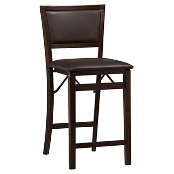 "Linon Triena 24"" Padded Back Folding Counter Stool - Espresso Finish LIN-01831ESP-01-AS-U"