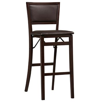 "Linon Triena 30"" Padded Back Folding Bar Stool - Espresso Finish LIN-01832ESP-01-AS-U"