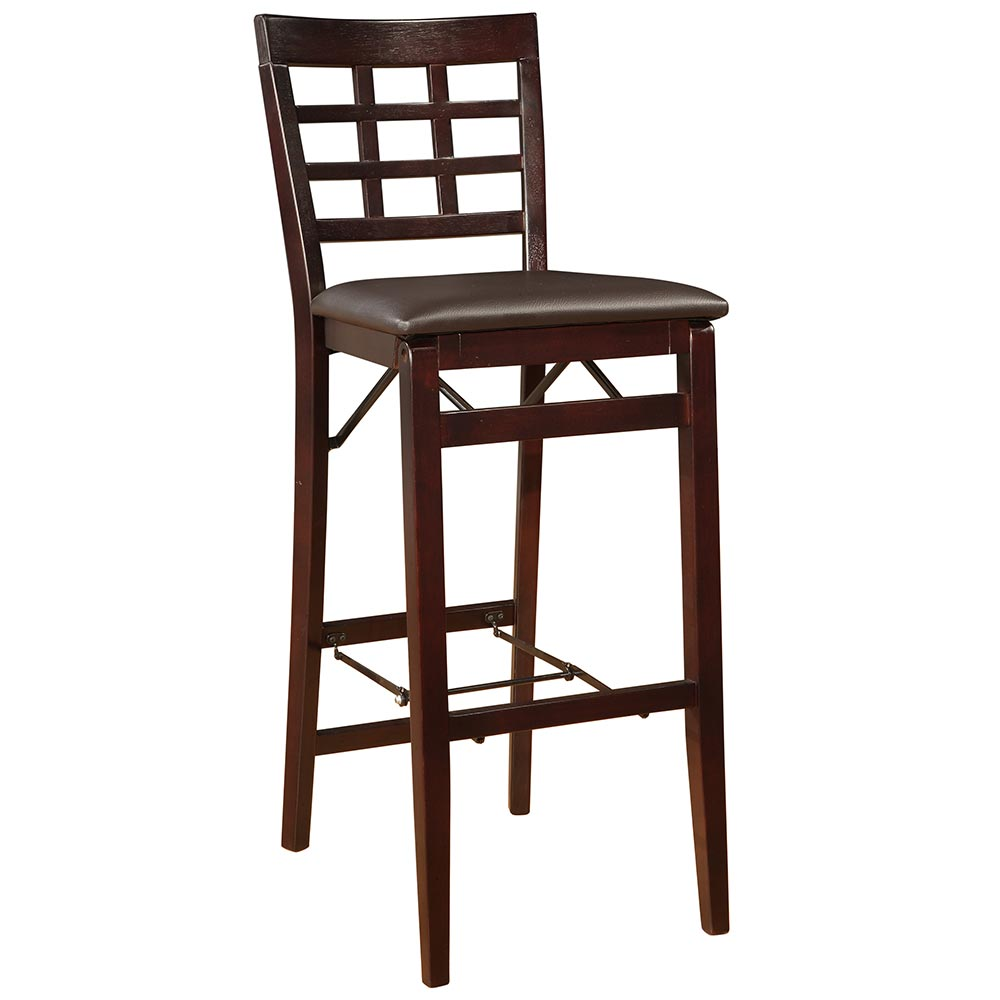 "Linon Triena 30"" Window Pane Wood Folding Bar Stool ESP 01 AS U"
