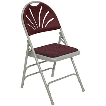 National Public Seating 1000 Series Fan-Back Upholstered Folding Chair - Set of 4 - Gray Frame/Burgundy Plastic/Patterned Burgundy Fabric NPS-1008