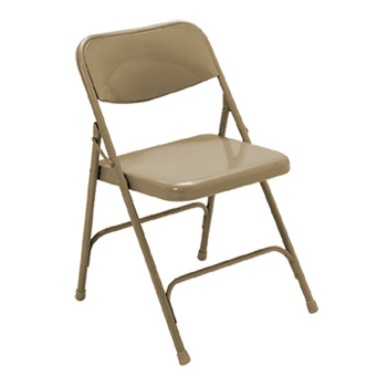 National Public Seating 100 Series Square Back Premium Steel Folding Chair - Set of 4 - Brown Color NPS-103