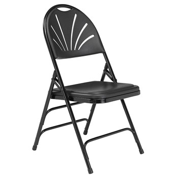 National Public Seating 1100 Series Fan-Back Polyfold Chair - Set of 4 - Black Plastic/Black Frame NPS-1110