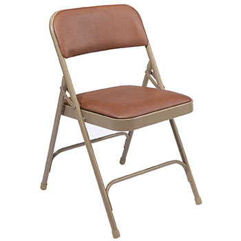 National Public Seating 1200 Series Premium Vinyl Folding Chair - Set of 4 - Honey Brown Vinyl/Beige Frame NPS-1203