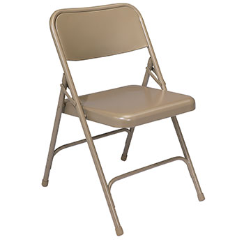 National Public Seating 200 Series Premium Steel Folding Chair - Set of 4 - Beige Color NPS-201