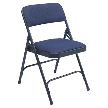 National Public Seating 2200 Series Premium Fabric Folding Chair - Set of 4 - Imperial Blue Fabric/Blue Frame NPS-2204