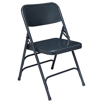 National Public Seating 300 Series Triple-Brace Steel Folding Chair - Set of 4 - Blue Color NPS-304