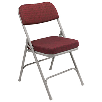 "National Public Seating 3200 Series 2"" Thick Padded Folding Chair - Set of 2 - New Burgundy Fabric/Gray Frame NPS-3218"