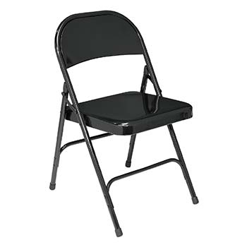 National Public Seating 50 Series Standard Steel Folding Chair - Set of 4 - Black Color NPS-510