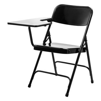 National Public Seating 5200 Series Premium Steel Folding Chair w/Right-Handed Tablet - Set of 2 - Black Color NPS-5210R
