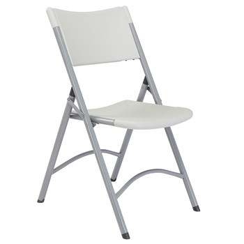 National Public Seating 600 Series Blow Molded Resin Plastic Folding Chair - Set of 4 - Speckled Gray Plastic/Gray Textured Frame NPS-602