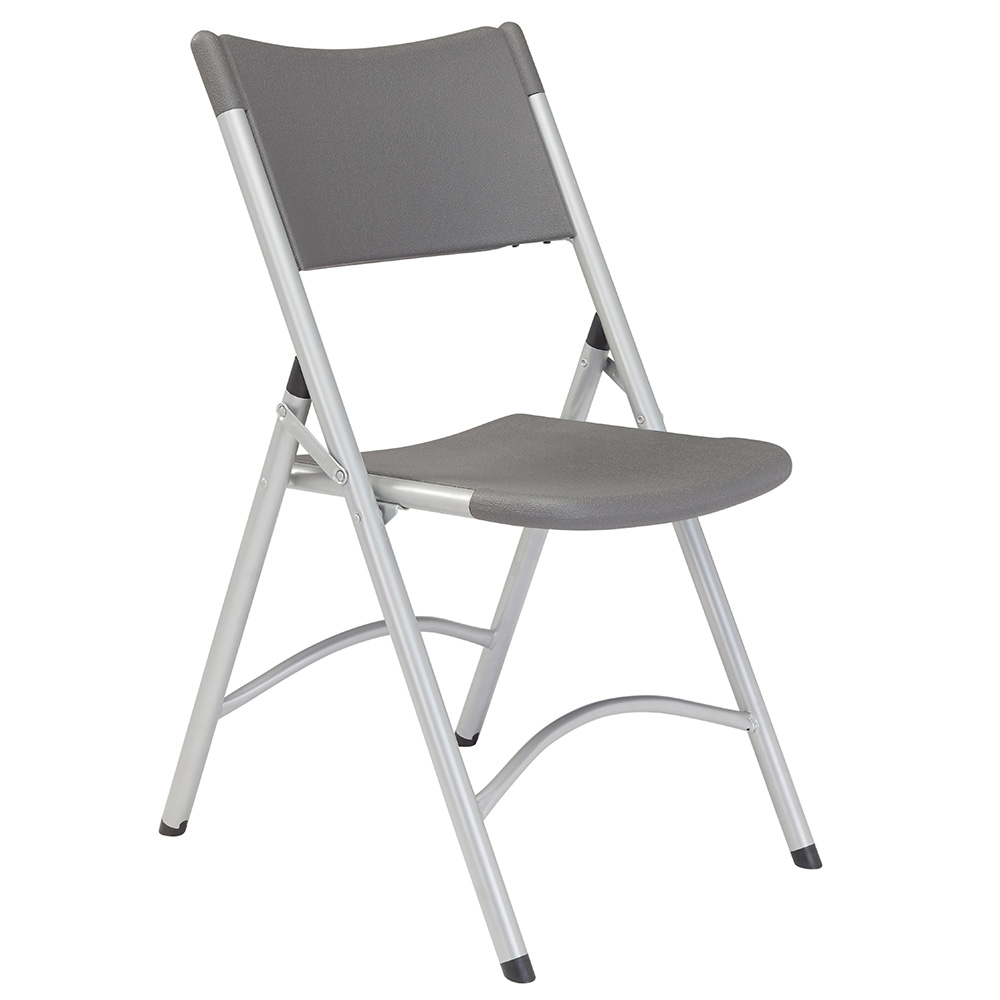 National Public Seating 600 Series Blow Molded Resin Plastic Folding Chair - Set of 4 - Charcoal Slate Plastic/Gray Textured Frame NPS-620