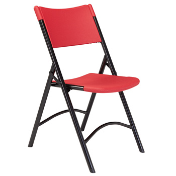 National Public Seating 600 Series Blow Molded Resin Plastic Folding Chair - Set of 4 - Blue Plastic/Black Frame NPS-640