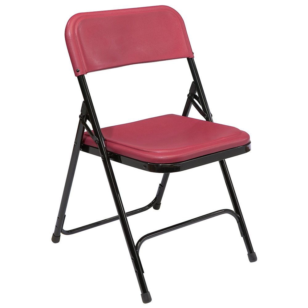 National Public Seating 800 Series Premium Lightweight Folding Chair   Set  Of 4   Burgundy Plastic