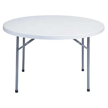 "National Public Seating 48"" Round Lightweight Blow Molded Resin Plastic Folding Table NPS-BT-48R"