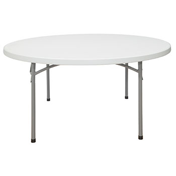 "National Public Seating 60"" Round Lightweight Blow Molded Resin Plastic Folding Table NPS-BT-60R"
