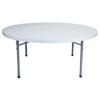 "National Public Seating 71"" Round Lightweight Blow Molded Resin Plastic Folding Table NPS-BT-71R"