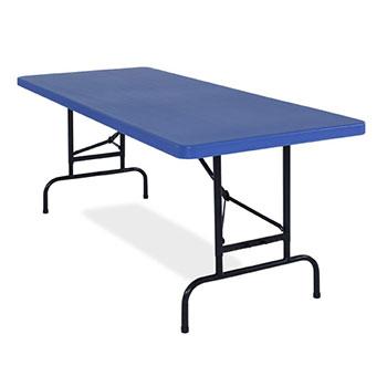 "National Public Seating BT3000 Series 30"" x 72"" Adjustable Blow Molded Resin Plastic Folding Table - Blue Color NPS-BTA-3072-04"