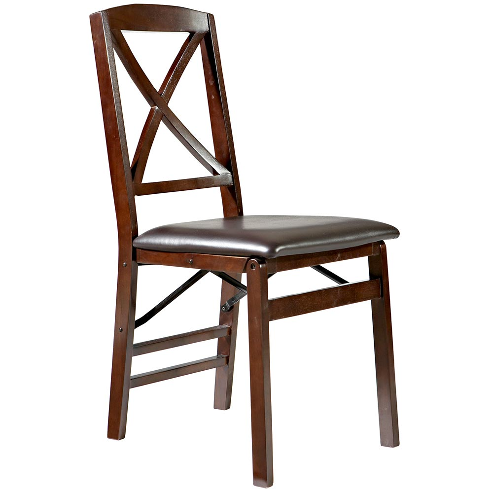 linon triena x back wood folding chair w upholstered