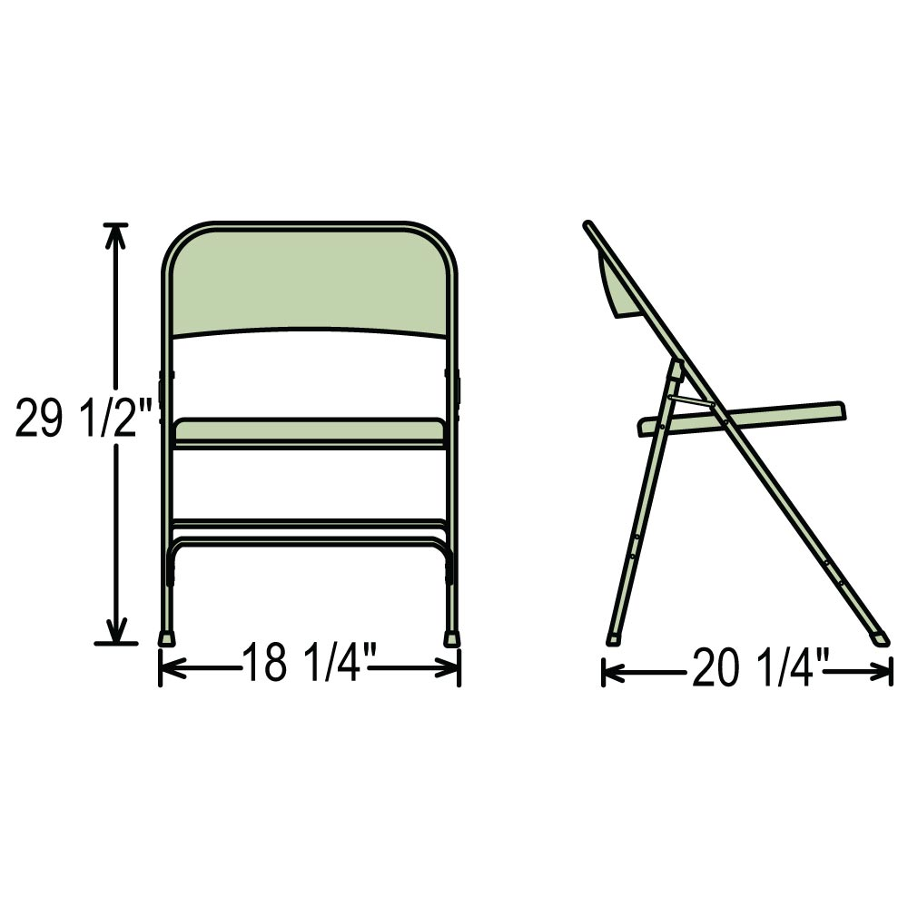 ... Dimensions For The 200 Series Folding Chairs