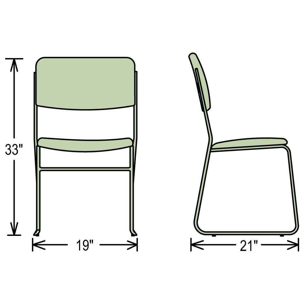 ... Dimensions For 8600 Series Stacking Chairs