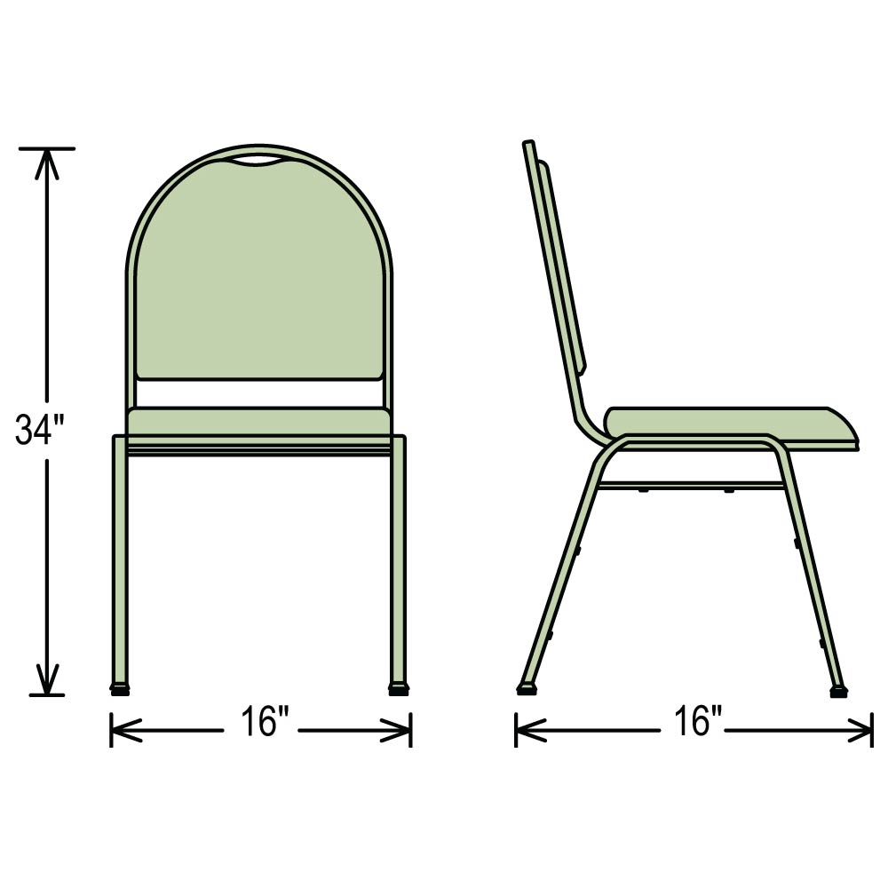 Dimensions Of 9200 Series Stacking Chairs