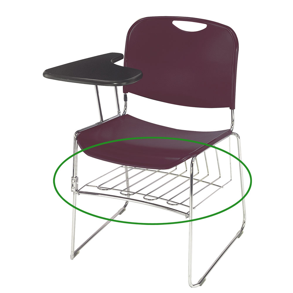 National Public Seating BR85 Book Rack For 8500 Series Stacking Chairs Fold